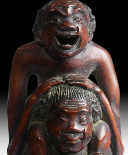 Ashinaga and Tenaga Gold Makie Wood Carving 19th Century Japanese Meiji 足長手長
