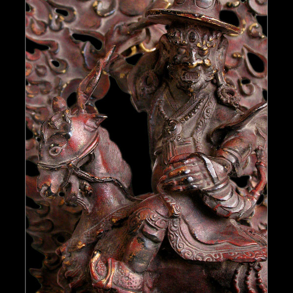 Damchen Garwa Nagpo Guardian on Goat Antique Tibetan Lacquered Bronze Buddha Shrine Statue 山羊大士