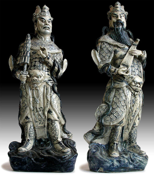 Lg 2, Antique Chinese Blue & White Porcelain Lokapala Deva King Guardian Ceramic Statue 天王魔禮青
