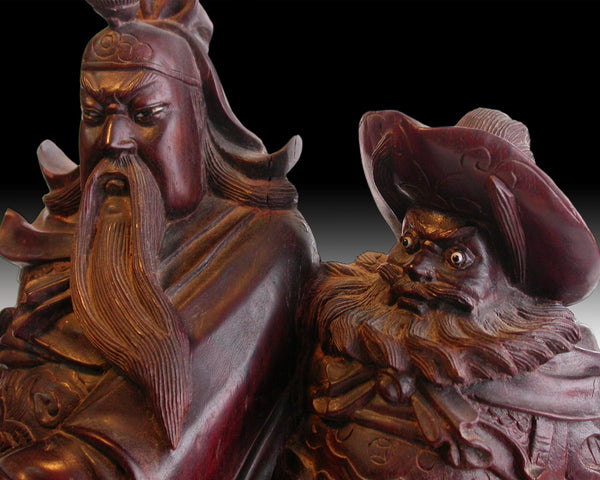 "God of War Guan Yu Zhang Fei Antique Chinese Carved Rosewood Statue 17""H 關羽+張飛"