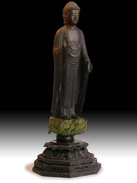 Lg Antique Japanese Early Edo Amida Nyorai Jodo Amitabha Buddha Joined Blocks Wood Statue 阿弥陀如来