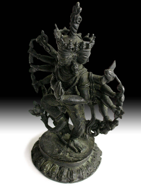 Antique Nepalese Sand Cast Bronze Thousand Armed Guan Yin Avalokiteshvara Statue 觀自在菩薩