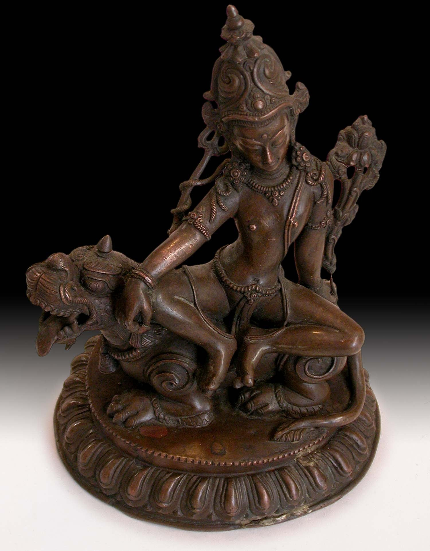 19th Century Antique Nepalese Lord of the Beasts Shiva Bhutnath Great God Red Bronze Statue
