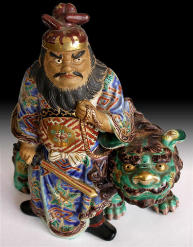 Demon Queller Shoki and Shishi Lion Signed Antique Japanese Kutani Yaki Ceramic Statue 九谷焼