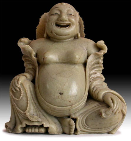 19th Century Antique Chinese Carved Budai Hotei Laughing Buddha 大笑佛 Soapstone Statue