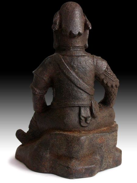 Vintage Chinese Iron Man God of War Kwan Yu Guardian Warrior Buddha Statue 關羽