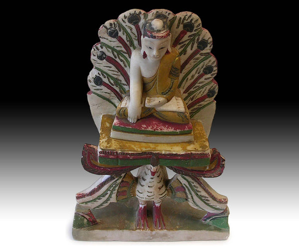 19th Century Burmese Amitabha Buddha On Peacock Marble Stone Shrine