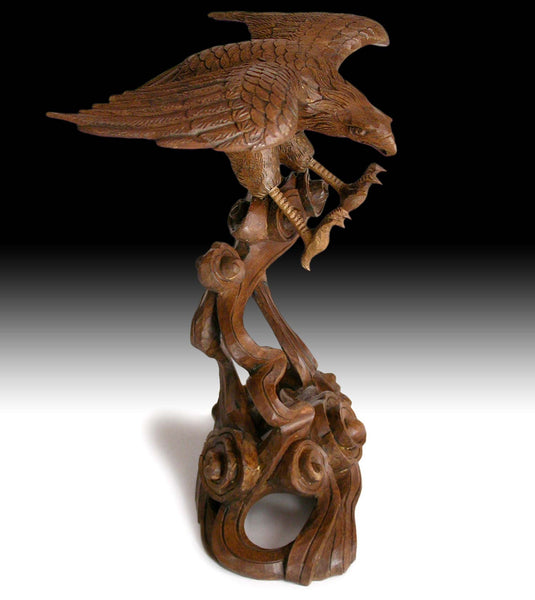 Vintage Japanese Hand Carved Eagle Soaring Over Cloud Okimono Wood Statue 雲鷹