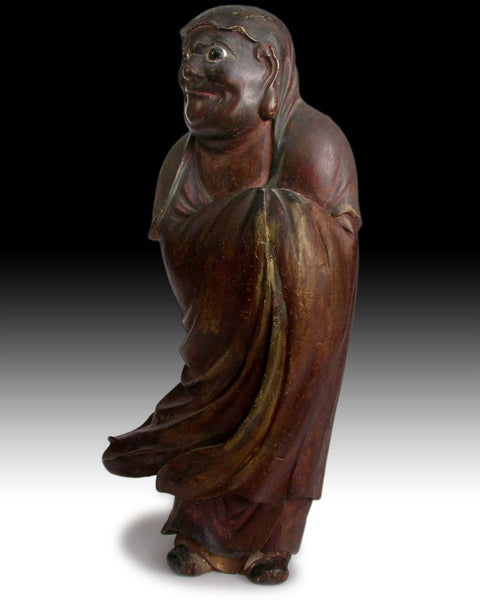 Antique Japanese Carved Wood Bodhidharma Daruma Darmo Zen Master Statue 达摩禪師