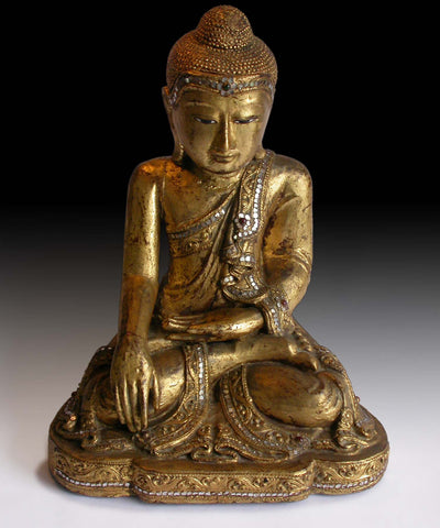"Vintage Gautama Shakyamuni Buddha Earth Pointing Witness Gilt Wood Statue 14""H"