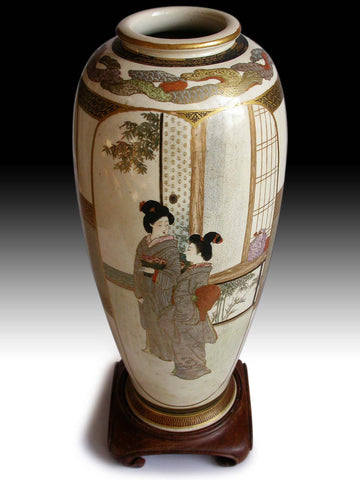 Meiji Satsuma Vase by Mitsuzan Antique Japanese Pottery Ceramic Ware of Court Lady Geisha Kozan 光山