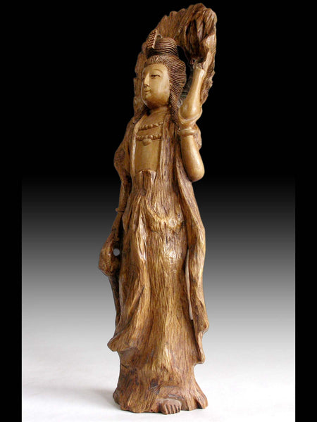 Vintage Japanese Carved Kannon Bosatsu Guanyin Goddess of Compassion Root Wood Statue 観音