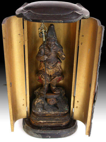 En no Gyoja 役行者 Ascetic Bosatsu 19th Century Japanese Carved Butsudan Zushi Shrine