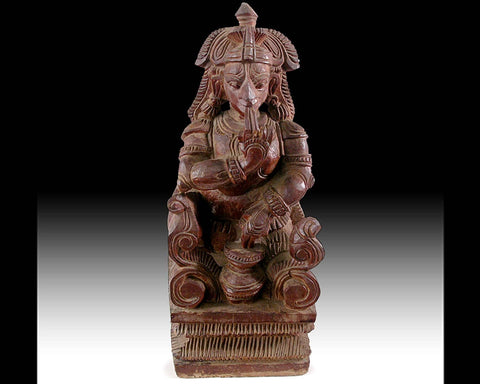 Makhan Cor Krishna Butter Thief Antique South India Hindu Carved Divine Child Wood Statue