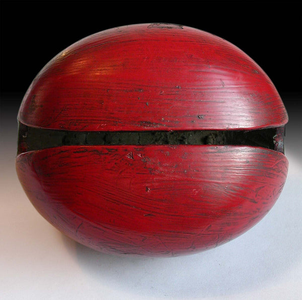 Antique Mokugyo Wooden Fish Gong Japanese Carved Red Lacquered Temple Drum