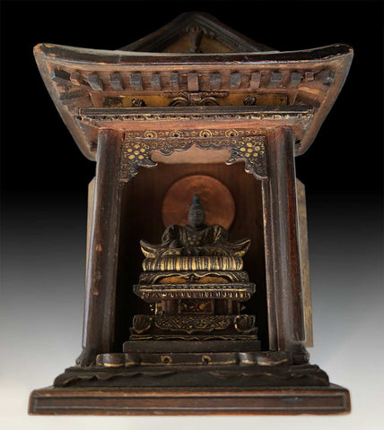 Tenman Tenjin Shinto Yashiro 天神 Daimyo Shogun Samurai Buddha Miniature Zushi Shrine 大名