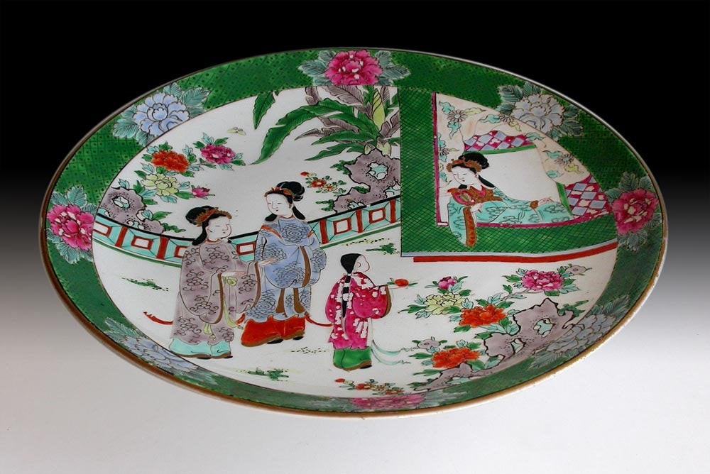 "Lg 19th Century Antique Japanese Edo Arita Imari Porcelain Platter Charger 14""D"