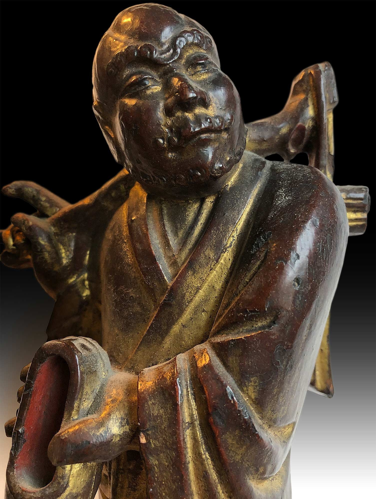 Bodhidharma Da Mo Buddha Statue / Antique Chinese Qing Lacquered Wood Carving 達摩禪師