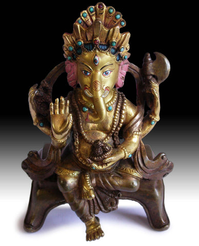 Baby Ganesh Hindu God of Wealth Vintage Antique Nepalese Jeweled Gilt Bronze Statue