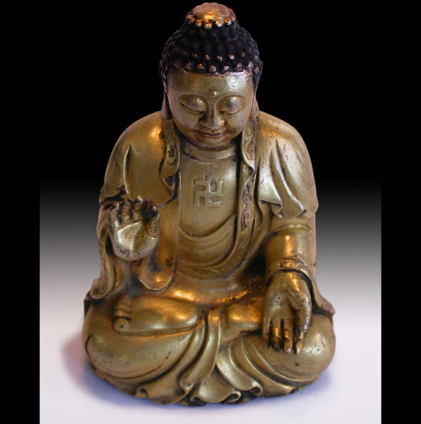 Gold Gilded Shakyamuni Buddha Teaching Charity Antique Chinese Small Bronze Statue  遼青銅鎏金釋迦牟尼佛