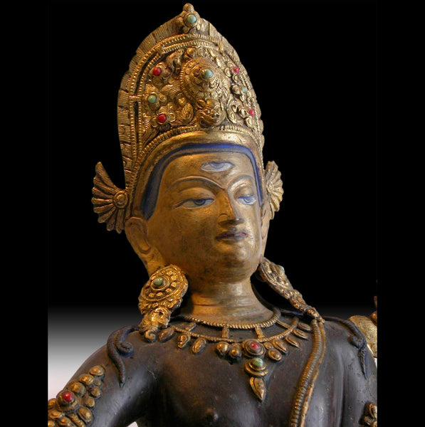 19th Century Jeweled Gilt Bronze Indra Antique Tibetan Nepal Buddha Statue 帝释天