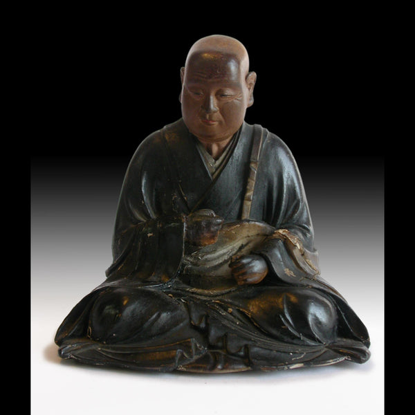 Zen Master Shinran Shonin Jodo Shinshu Meiji Hollow-Blocks Wood Shrine Statue