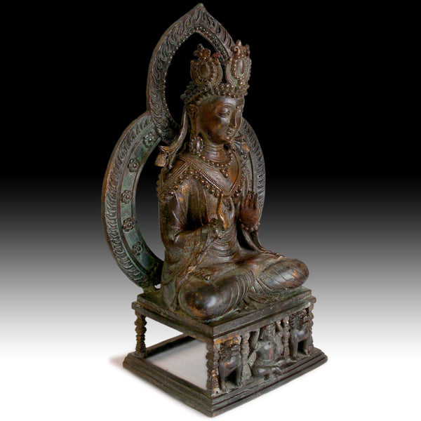 Antique Maitreya Buddha Guardian Lion Shrine Southeast Asian Bronze Statue 彌勒菩薩