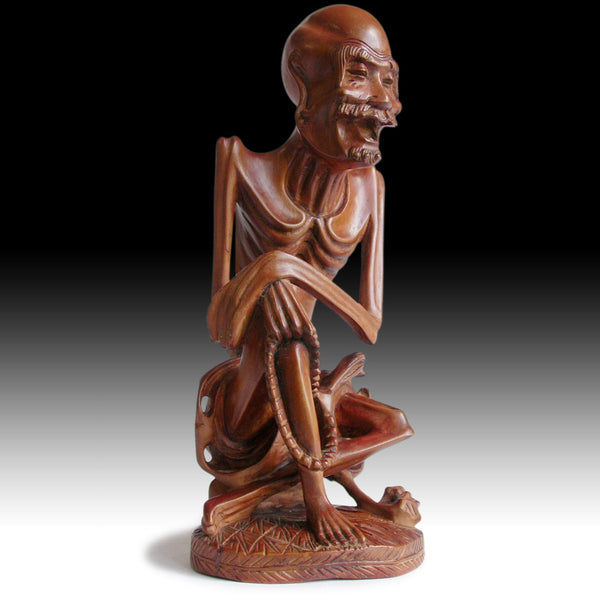Ascetic Shakyamuni Emaciated Buddha Vintage Chinese Carved Boxwood Statue 釋迦牟尼佛