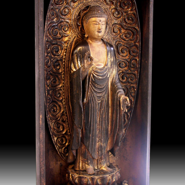 Edo Amida Nyorai Amitabha 19th Century Antique Wood Buddha Butsudan Zushi Shrine 阿彌陀佛