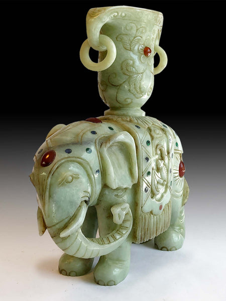 Nephrite Jade Sacred Elephant Libation Cup Antique Chinese Jadeite Stone Carving 奠瓚玉象