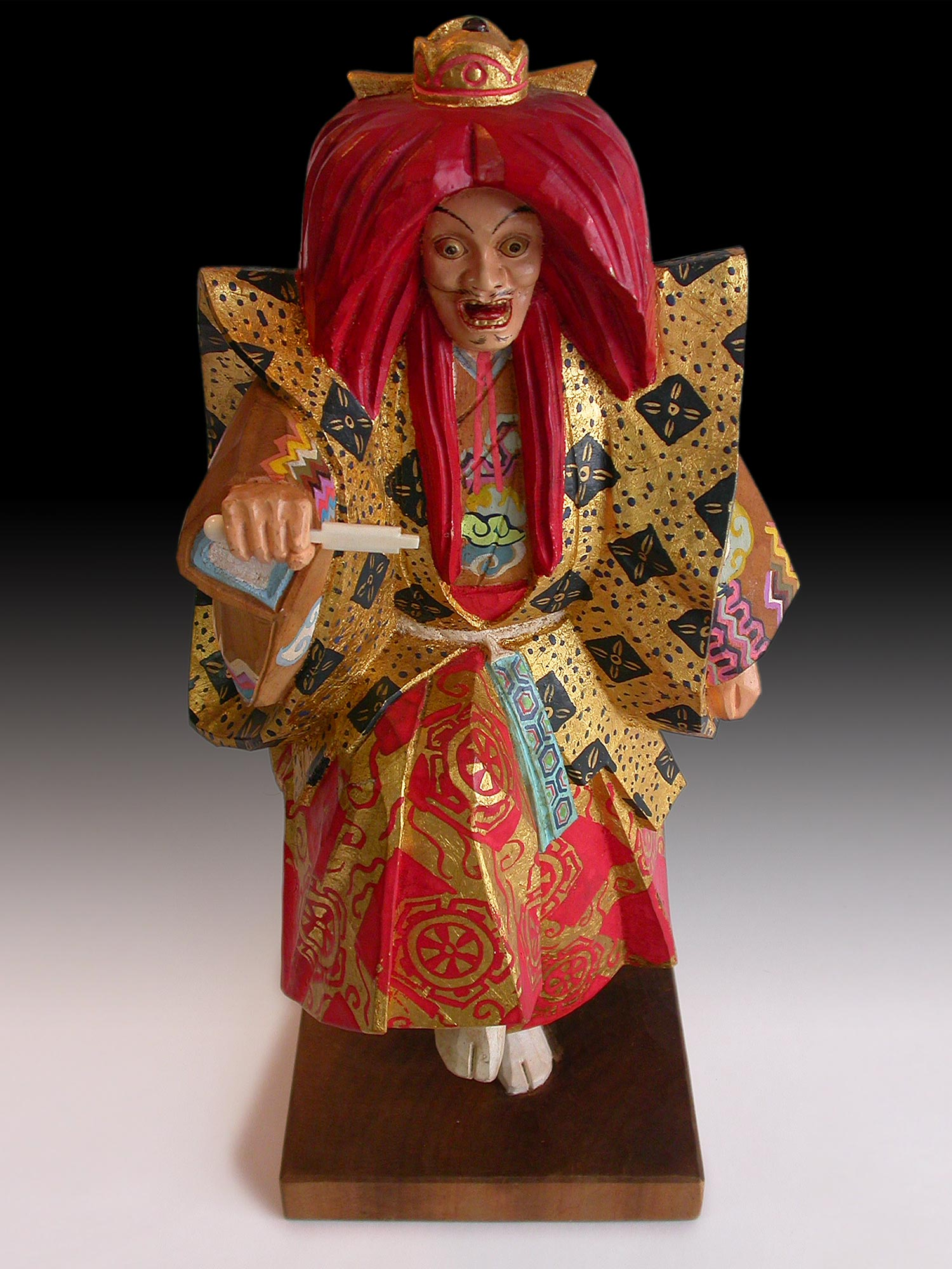 Kurama Tengu Sojobo Polychrome Gold Leaf Showa Wood Carving Signed 鞍馬天狗