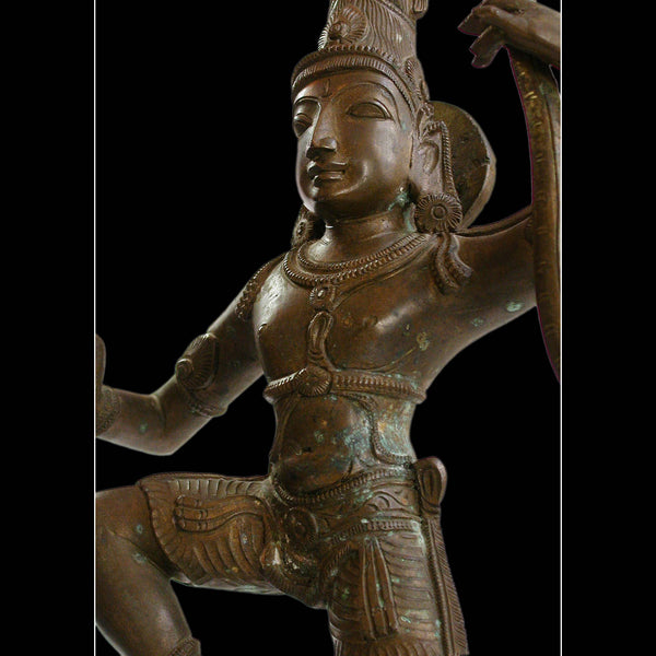 "Krishna Dancing On Kaliya Nag Serpent Vintage Chola Style Hindu Bronze 18""H"