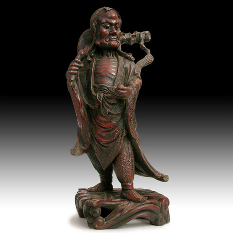 Zen Master Bodhidharma 19th Century Antique Chinese Lacquered Camphor Wood Statue 達摩禪師