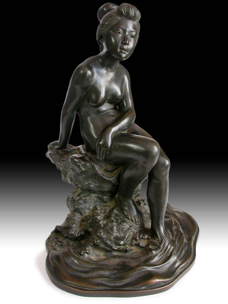 "Meiji Bronze Nude Bather by Okazaki Sessei Antique Japanese Statue 17""H 雪聲"