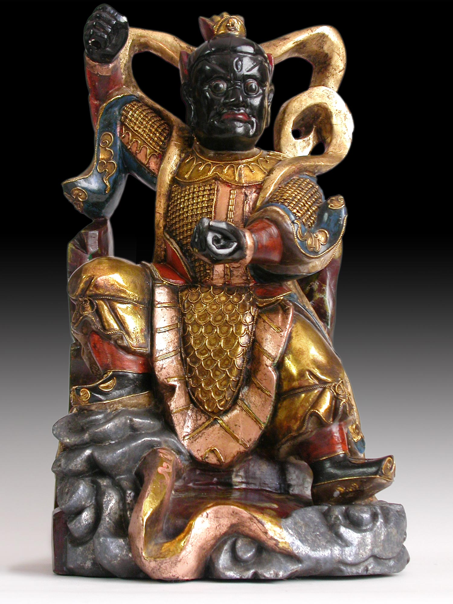"Vintage Chinese Carved Polychrome Nio Guardian Dharmapala Wood Statue 17""H 金剛"