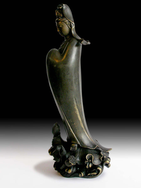 Antique Chinese Qing Bronze Lotus Guan Yin Bodhisattva of Compassion Statue 蓮花觀音