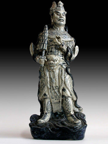 Lg 1,  Jambhala Deva King Antique Chinese Blue & White Porcelain Guardian Ceramic Statue 天王魔禮壽