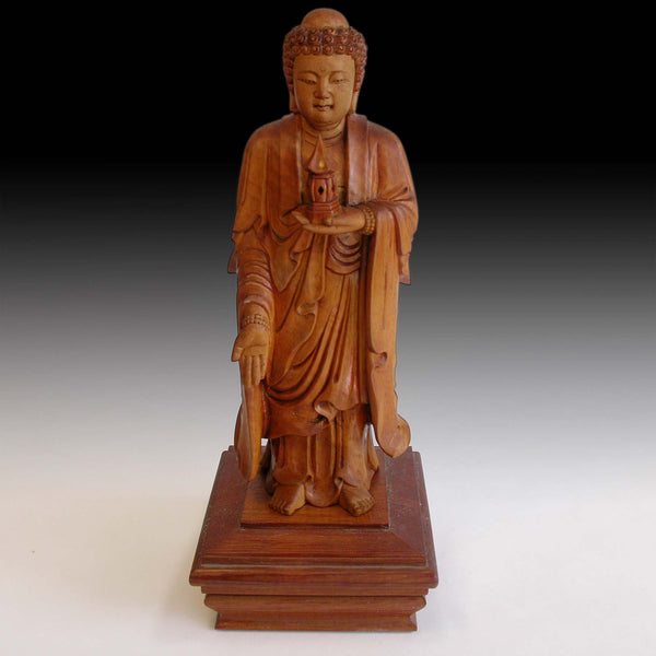 Shakya Nyorai Vintage Japanese Sandalwood Stupa Buddha Finely Carved Wood Statue 释迦牟尼佛
