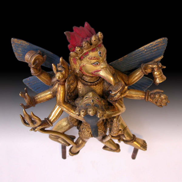 6-Armed Garuda & Consort Yab Yum Union Antique Tibetan Gilt Bronze Buddha Statue 大鵬金翅明王