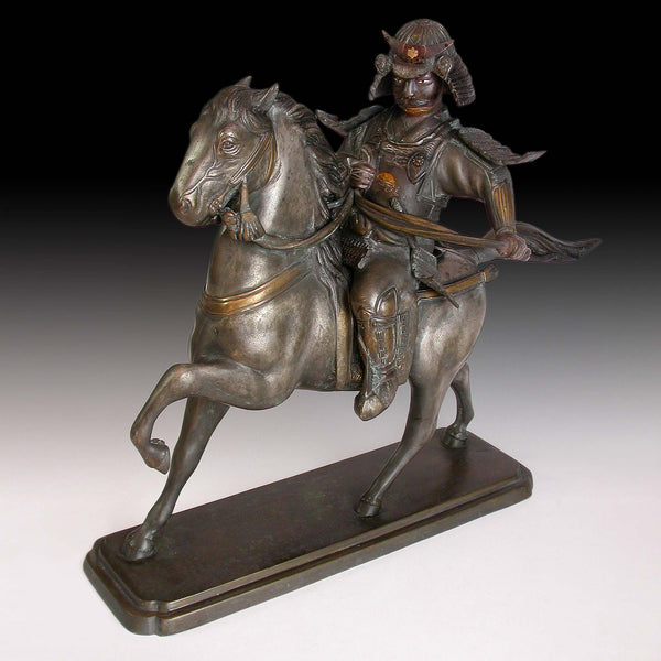 Samurai on Horse Effigy Koro Censer Antique Japanese Silver Gilt Bronze  Statue 武士