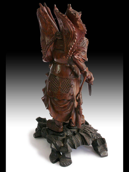 "God of War Zhao Zilong Saving Adou Antique Chinese Carved Three Kingdoms Rosewood Statue 17""H 趙雲"
