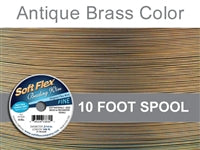 Soft Flex 21 Strand .014 Inch Diameter, 10 feet Beading Wire, Antique Brass Color. (Sold as - 1 Spool Per Pack)