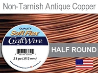 Soft Flex 21 Gauge Half Round Craft Wire, Non-Tarnish Antique Copper. (Sold as - 1 Spool Per Pack)