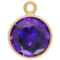 Gold Filled 6.0mm Amethyst CZ/February CZ Crystal Drop. Sold as - 2 Pieces Per Pack