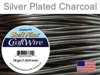 Soft Flex 18 Gauge Craft Wire, Silver Plated Charcoal. (Sold as - 1 Spool Per Pack)