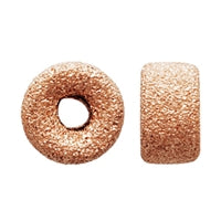 Gold Filled - Rose Gold 6.0mm Stardust Roundel Bead. Sold as - 6 Pieces Per Pack