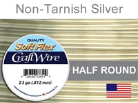 Soft Flex 21 Gauge Half Round Craft Wire, Non-Tarnish Silver. (Sold as - 1 Spool Per Pack)