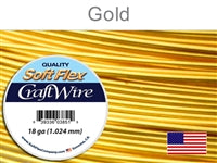 Soft Flex 18 Gauge Craft Wire, Silver Plated Gold. (Sold as - 1 Spool Per Pack)