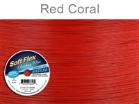 Soft Flex 49 Strand .019 Inch Diameter, 30 feet Beading Wire, Red Coral. (Sold as - 1 Spool Per Pack)