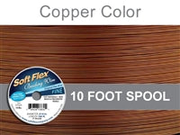Soft Flex 21 Strand .014 Inch Diameter, 10 feet Beading Wire, Copper Color. (Sold as - 1 Spool Per Pack)